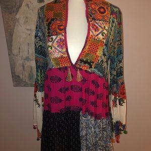 Multi Print Deep V Dress